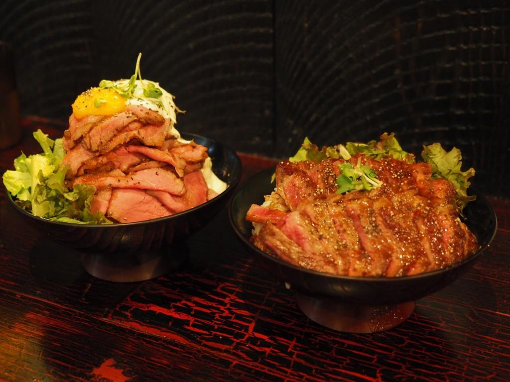 ローストビーフ丼と牛ステーキ丼の大盛り比較