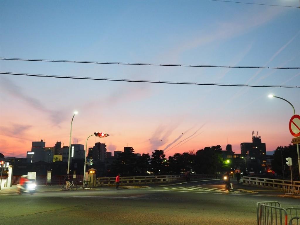四条河原町の夕焼け