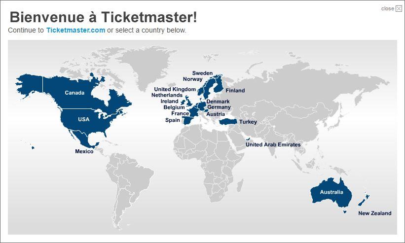 チケットマスターが使える国