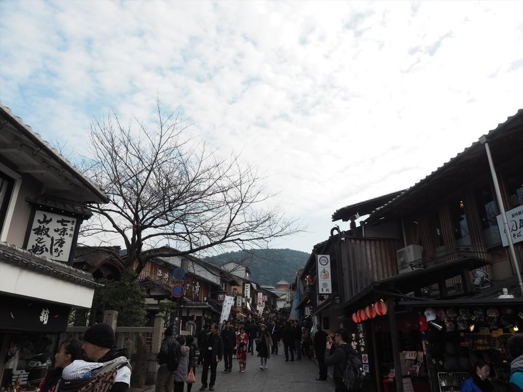 清水寺へ向かう坂道を登る